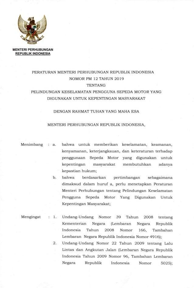 MENTERI PERHUBUNGAN REPUBLIK INDONESIA PERATURAN MENTERI PERHUBUNGAN REPUBLIK INDONESIA NOMOR PM 12 TAHUN 2019 TENTANG PEL...