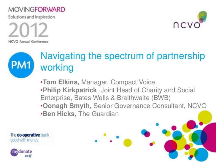 Navigating the spectrum of partnershipPM1 working     •Tom Elkins, Manager, Compact Voice     •Philip Kirkpatrick, Joint H...