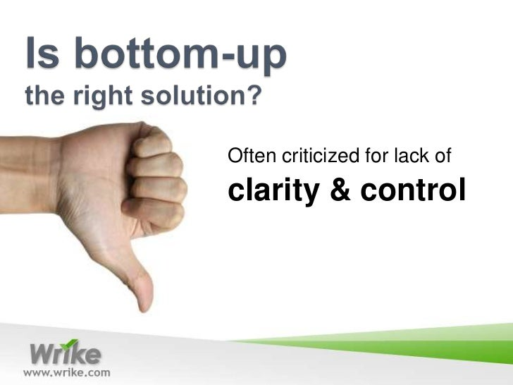 top down vs bottom up change Advantages and disadvantages of the top-down and bottom-up implementation approaches the top-down and bottom-up approaches to deploying your identity management solution are provided to help you decide the best way to integrate identity management capabilities into your environment.