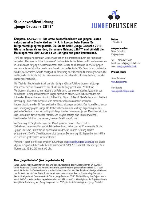"""Studienveröffentlichung: """"junge Deutsche 2013"""" Kempten, 12.09.2013. Die erste deutschlandweite von jungen Leut..."""