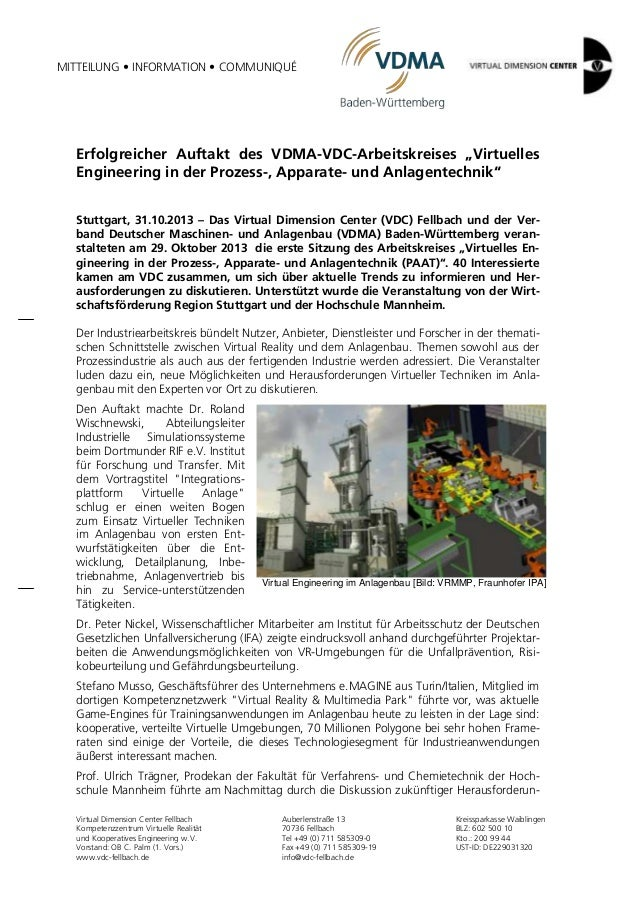 """MITTEILUNG • INFORMATION • COMMUNIQUÉ  Erfolgreicher Auftakt des VDMA-VDC-Arbeitskreises """"Virtuelles Engineering in der Pr..."""