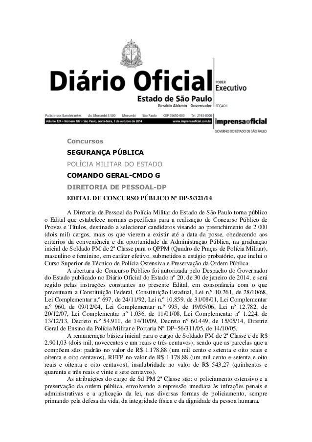 Concursos SEGURANÇA PÚBLICA POLÍCIA MILITAR DO ESTADO COMANDO GERAL-CMDO G DIRETORIA DE PESSOAL-DP EDITAL DE CONCURSO PÚBL...