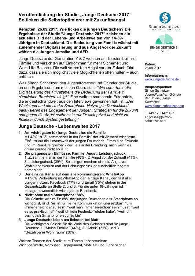 """Veröffentlichung der Studie """"Junge Deutsche 2017"""" So ticken die Selbstoptimierer mit Zukunftsangst  Kempten, 26.09.2017: ..."""