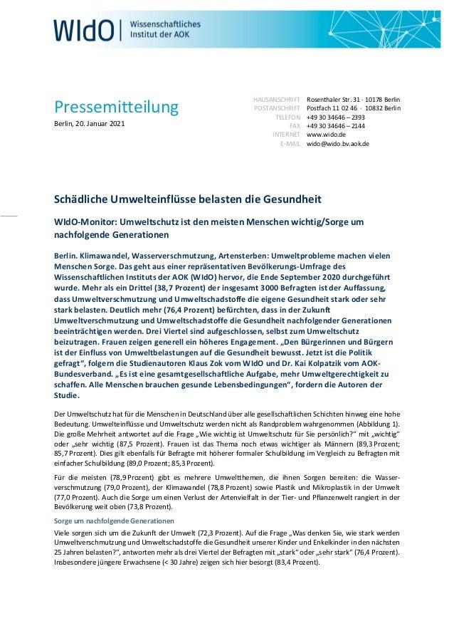 Pressemitteilung Berlin, 20. Januar 2021 HAUSANSCHRIFT POSTANSCHRIFT TELEFON FAX INTERNET E-MAIL Rosenthaler Str. 31 · 101...