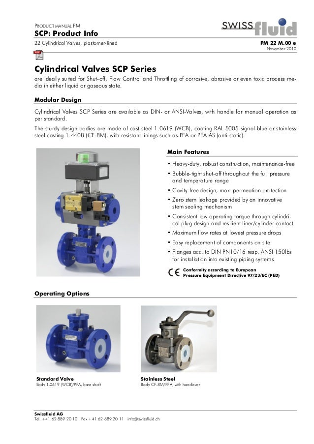 PRODUCT MANUAL PM SCP: Product Info 22 Cylindrical Valves, plastomer-lined PM 22 M.00 e November 2010 Swissfluid AG Tel. +...