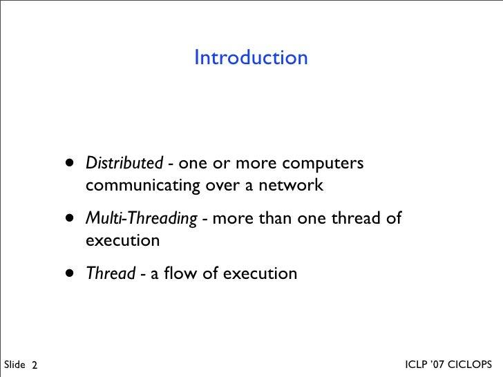 Distributed Multi-Threading in GNU-Prolog Slide 2