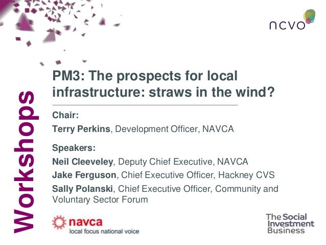 Workshops PM3: The prospects for local infrastructure: straws in the wind? Chair: Terry Perkins, Development Officer, NAVC...