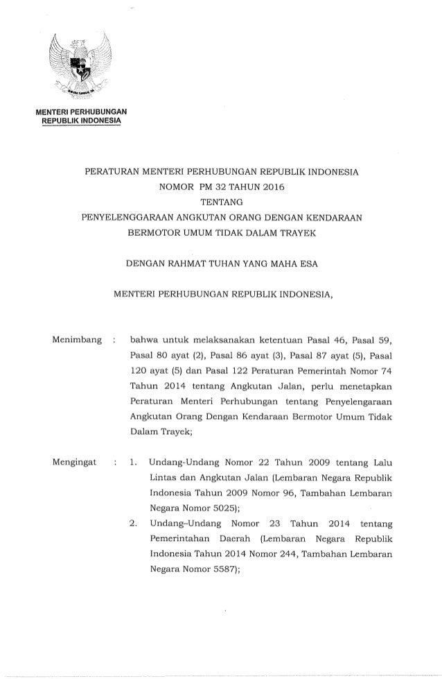 Peraturan Menteri Perhubungan Republik Indonesia No 32 Tahun 2016 (tentang taksi online)