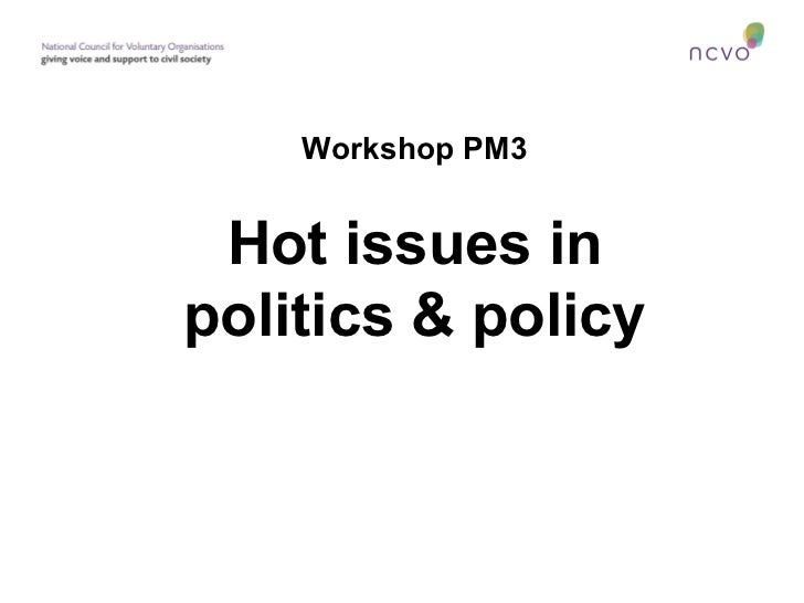 Workshop PM3 Hot issues inpolitics & policy