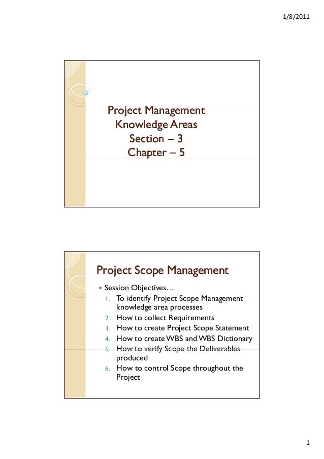 1/8/2011  Project Management Knowledge Areas Section – 3 Chapter – 5 p  Project Scope Management Session Objectives… 1. To...