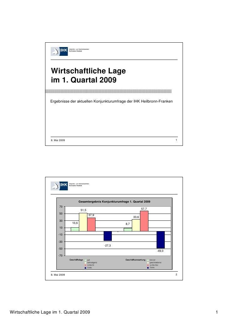 Wirtschaftliche Lage                   im 1. Quartal 2009                   Ergebnisse der aktuellen Konjunkturumfrage der...