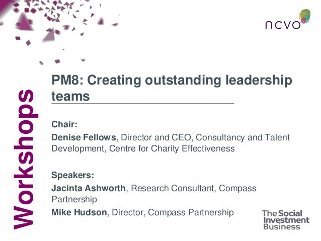 Workshops PM8: Creating outstanding leadership teams Chair: Denise Fellows, Director and CEO, Consultancy and Talent Devel...
