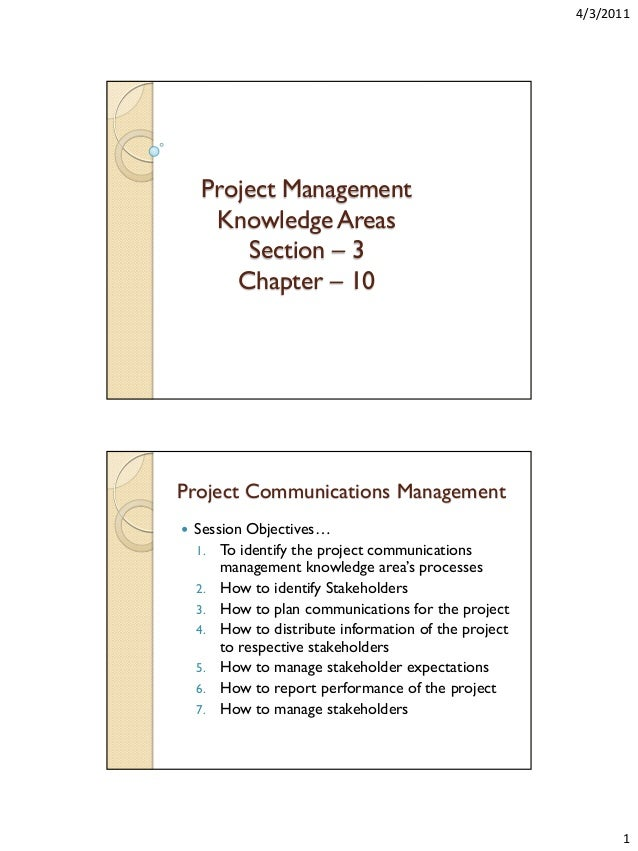 4/3/2011  Project Management Knowledge Areas Section – 3 Chapter – 10  Project Communications Management   Session Object...