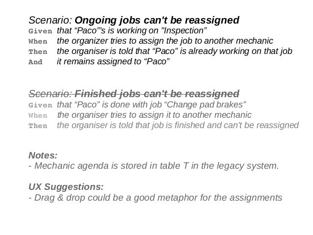 """Scenario: Ongoing jobs can't be reassigned Given that """"Paco""""'s is working on """"Inspection"""" When the organizer tries to assi..."""