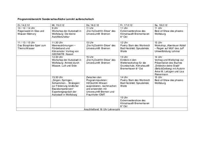 Programmübersicht Sonderschaufläche LernArt außerschulischDi, 14.2.12               Mi, 15.2.12                  Do, 16.2....