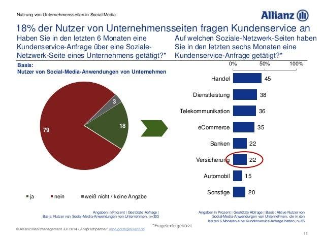 11 © Allianz Marktmanagement Juli 2014 / Ansprechpartner: rene.golze@allianz.de 18% der Nutzer von Unternehmensseiten frag...