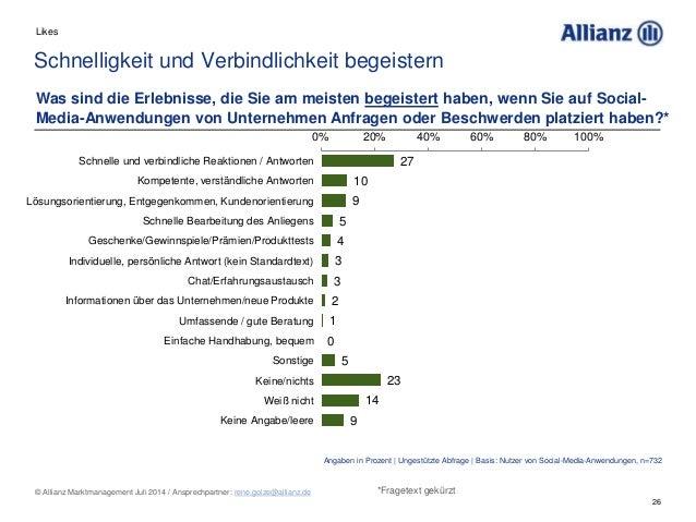 26 © Allianz Marktmanagement Juli 2014 / Ansprechpartner: rene.golze@allianz.de Was sind die Erlebnisse, die Sie am meiste...