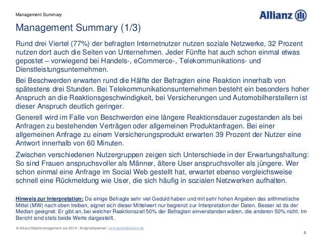 3 © Allianz Marktmanagement Juli 2014 / Ansprechpartner: rene.golze@allianz.de Management Summary (1/3) Rund drei Viertel ...