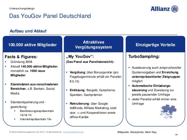 34 © Allianz Marktmanagement Juli 2014 / Ansprechpartner: rene.golze@allianz.de Das YouGov Panel Deutschland Untersuchungs...