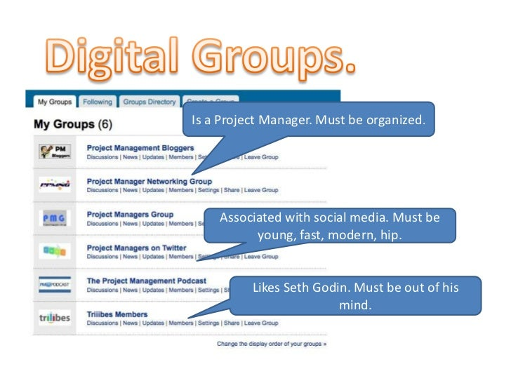 Digital Groups.<br />Is a Project Manager. Must be organized.<br />Associated with social media. Must be young, fast, mode...