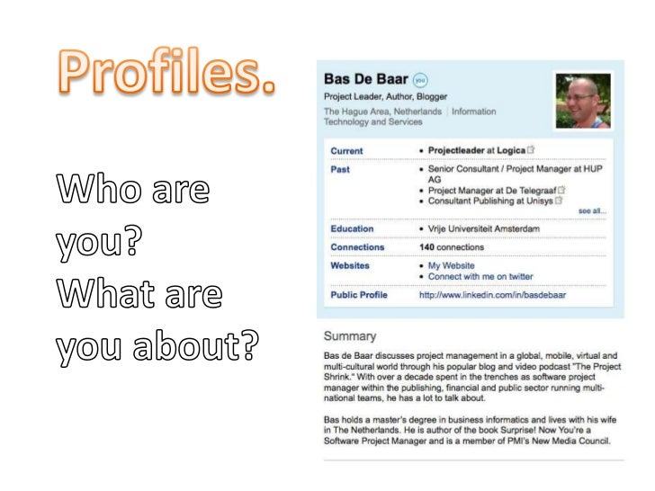 Profiles.<br />Who are you?<br />What are you about?<br />