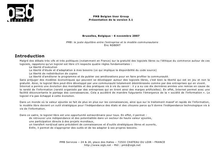 PMB Belgian User Group                                                       Présentation de la version 3.1               ...
