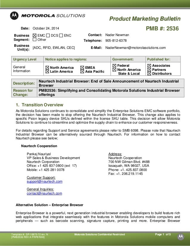 Template #: SP-10875-72 rev. N Motorola Solutions Confidential Restricted Page 1 of 5  [PMB2536 REV A PRP87690]  PPrrooddu...