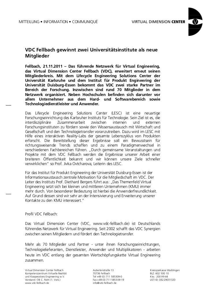 MITTEILUNG • INFORMATION • COMMUNIQUÉ  VDC Fellbach gewinnt zwei Universitätsinstitute als neue  Mitglieder  Fellbach, 21....
