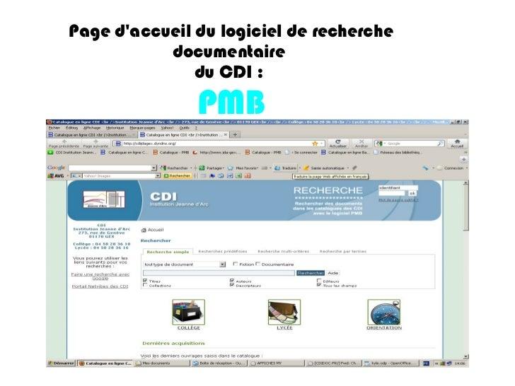 Page d'accueil du logiciel de recherche documentaire  du CDI :  PMB