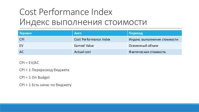 Cost Performance Index Индекс выполнения стоимости CPI = EV/AC CPI < 1 Перерасход бюджета CPI = 1 On Budget CPI > 1 Есть з...