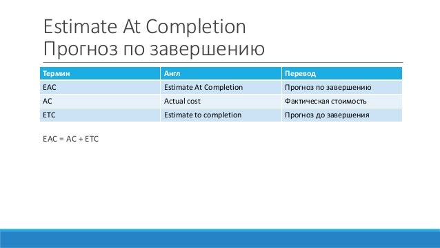 Estimate At Completion Прогноз по завершению EAC = AC + ETC Термин Англ Перевод EAC Estimate At Completion Прогноз по заве...