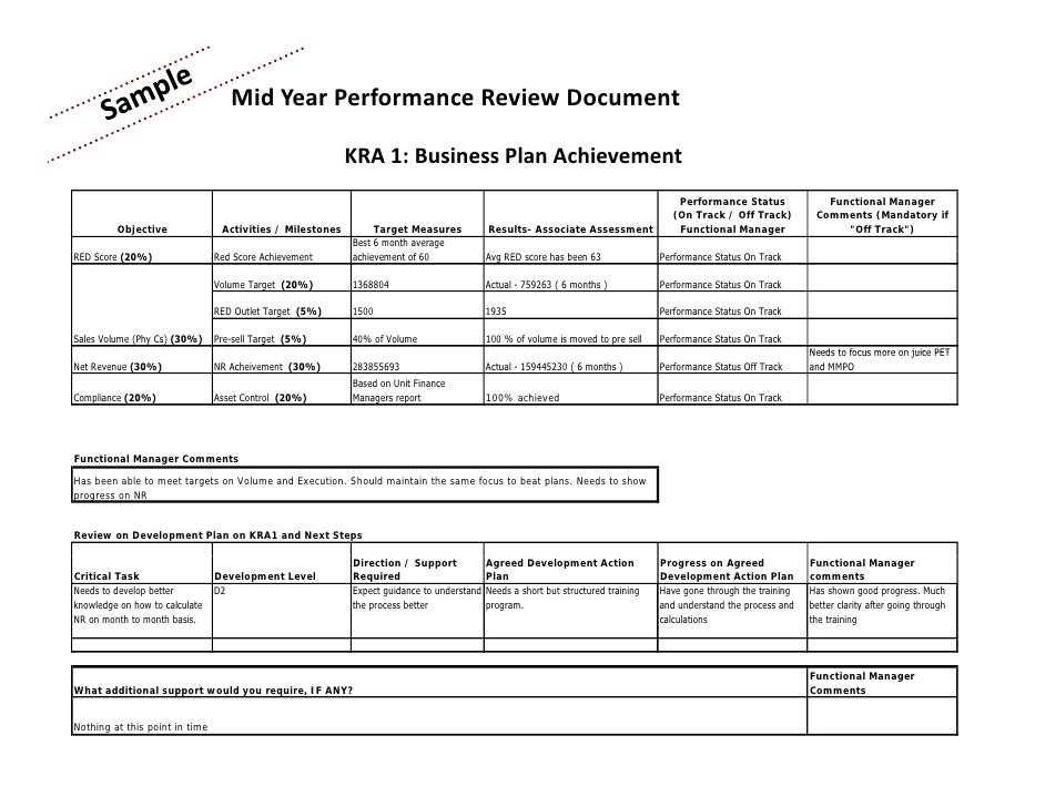 Mid year performance appraisal template performance for Mid year review template