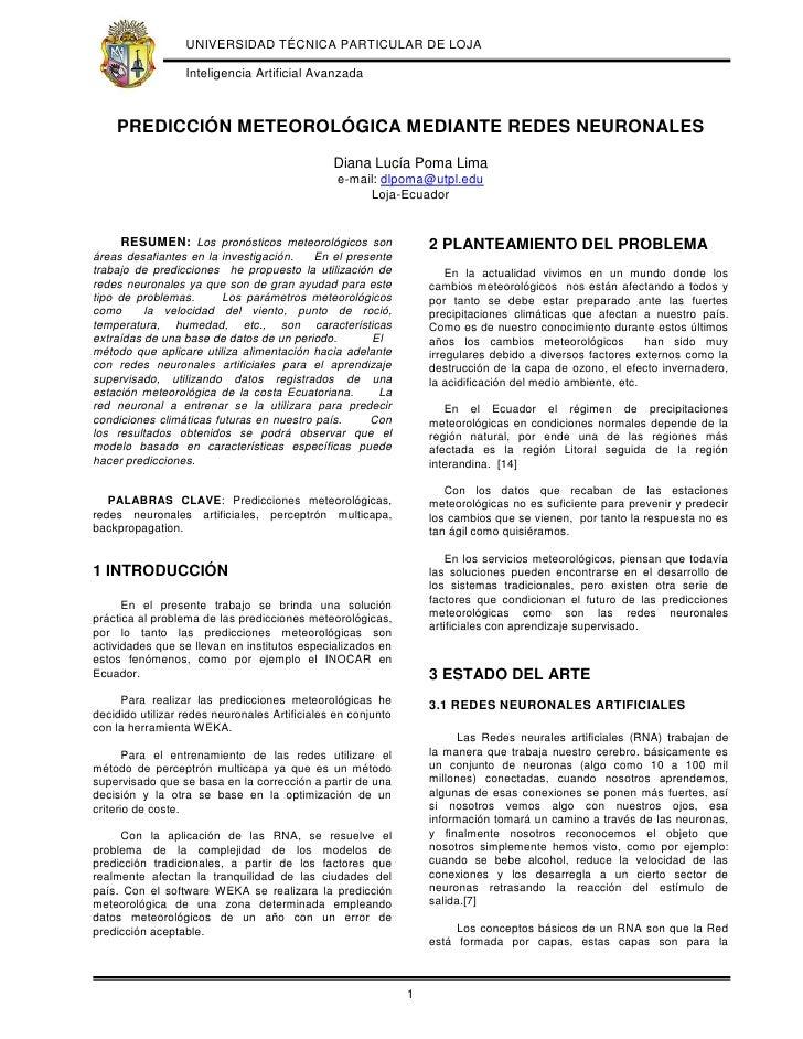 UNIVERSIDAD TÉCNICA PARTICULAR DE LOJA                    Inteligencia Artificial Avanzada        PREDICCIÓN METEOROLÓGICA...