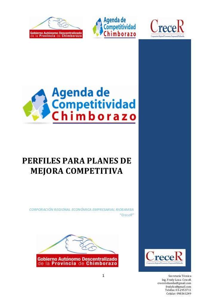 PERFILES PARA PLANES DE  MEJORA COMPETITIVA CORPORACIÓN REGIONAL ECONÓMICA EMPRESARIAL RIOBAMBA                           ...