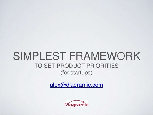 SIMPLEST FRAMEWORK TO SET PRODUCT PRIORITIES (for startups) alex@diagramic.com
