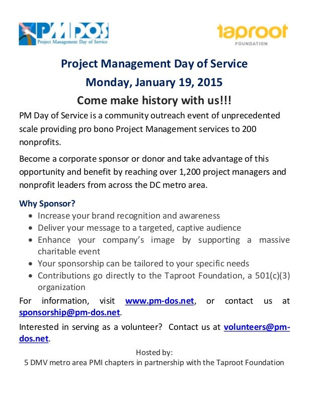 Project Management Day of Service  Monday, January 19, 2015  Come make history with us!!!  PM Day of Service is a communit...