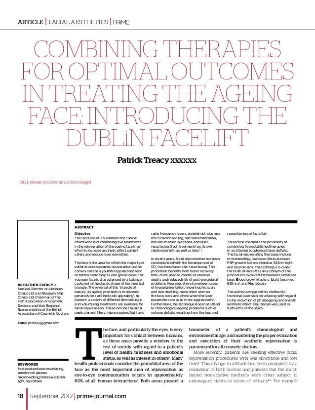 ARTICLE | facial aesthetics                                |    Combining therapies  for optimal outcomes  in treating the...