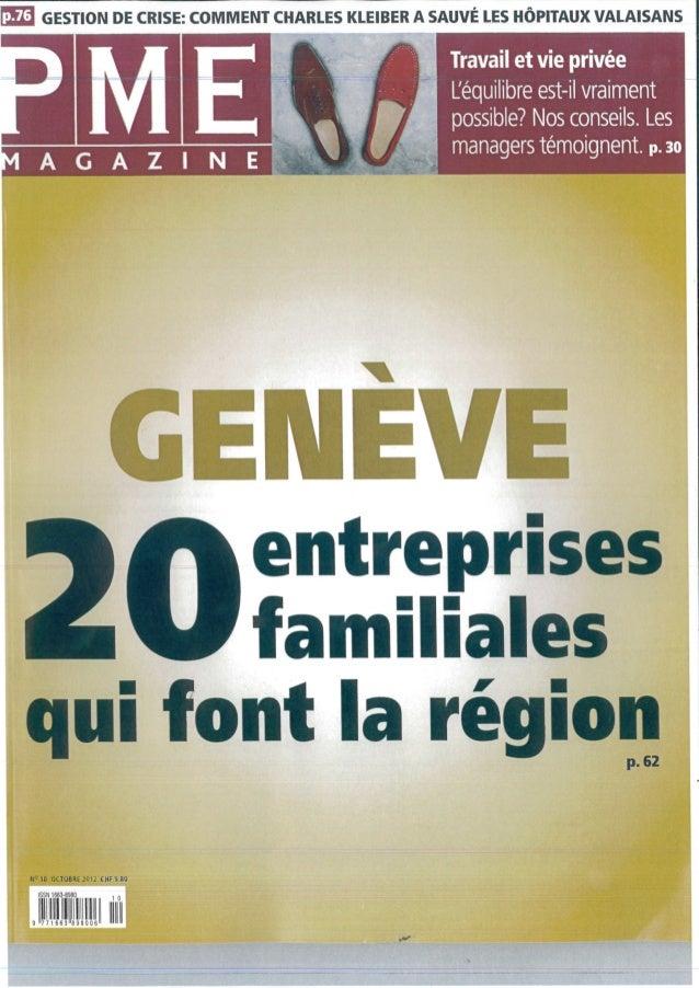 Pme m agazine   genève 20 entrepreprises familiales qui font la région - octobre 2012