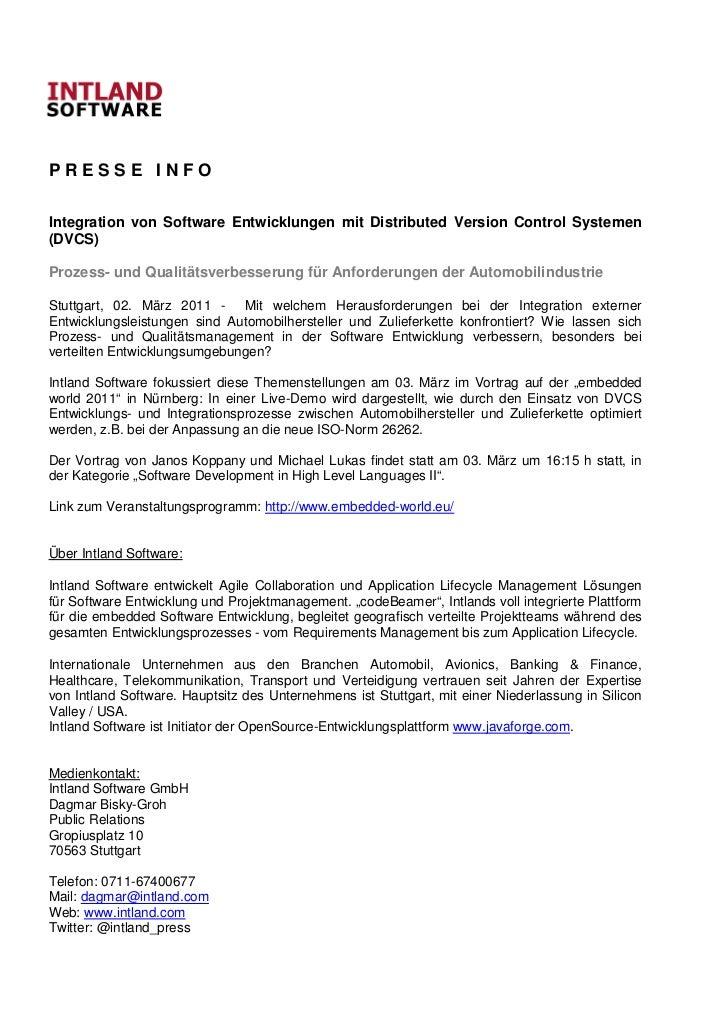 PRESSE INFOIntegration von Software Entwicklungen mit Distributed Version Control Systemen(DVCS)Prozess- und Qualitätsverb...