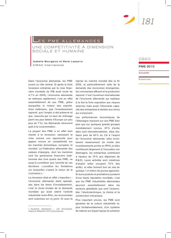 181   LE S           PmE aLLEmanDES   unE cOmPétitivité à DimEnSiOn   SOciaLE Et humainE                                  ...