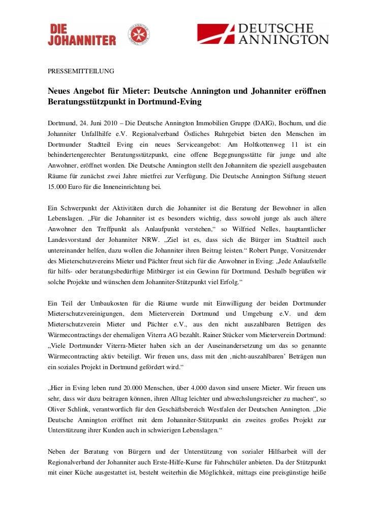 PRESSEMITTEILUNGNeues Angebot für Mieter: Deutsche Annington und Johanniter eröffnenBeratungsstützpunkt in Dortmund-EvingD...