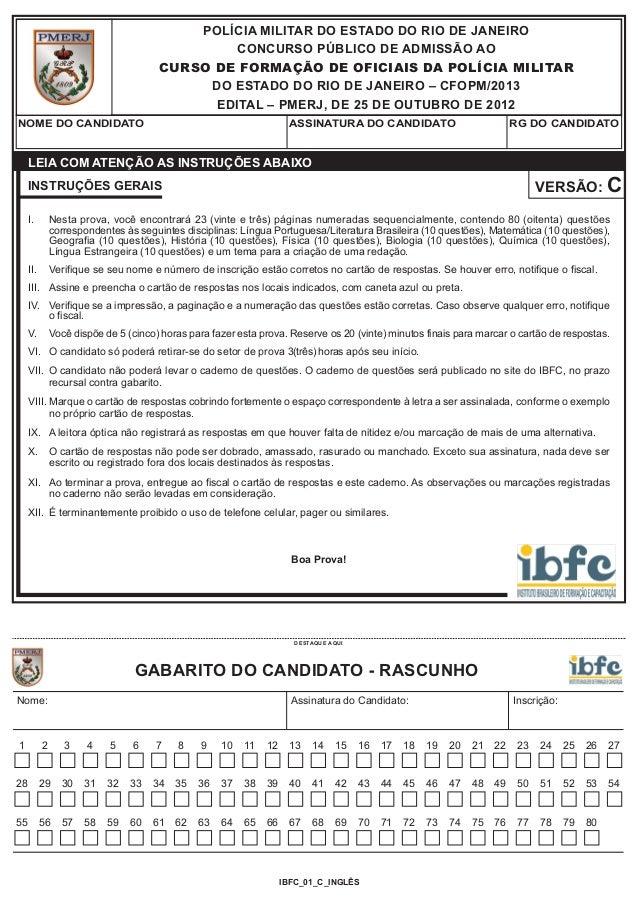 POLÍCIA MILITAR DO ESTADO DO RIO DE JANEIRO                                               CONCURSO PÚBLICO DE ADMISSÃO AO ...