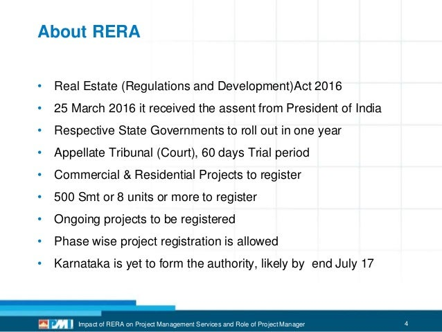 Impact of RERA in India on Real Estate Project Management Service