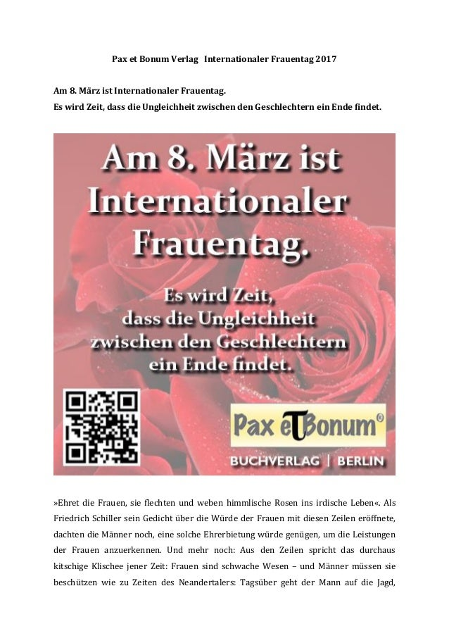 Pax Et Bonum Verlag Internationaler Frauentag 2017