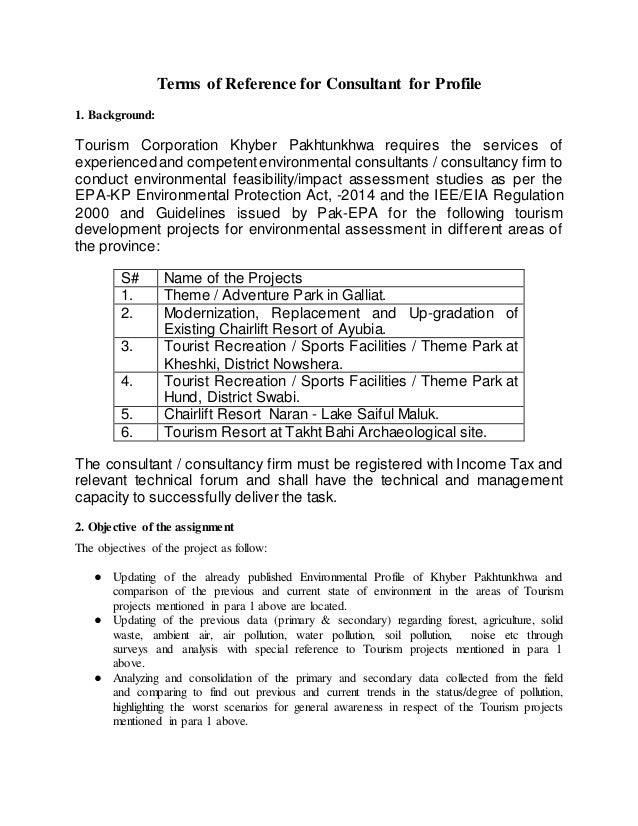 Terms of Reference for Consultant for Profile 1. Background: Tourism Corporation Khyber Pakhtunkhwa requires the services ...
