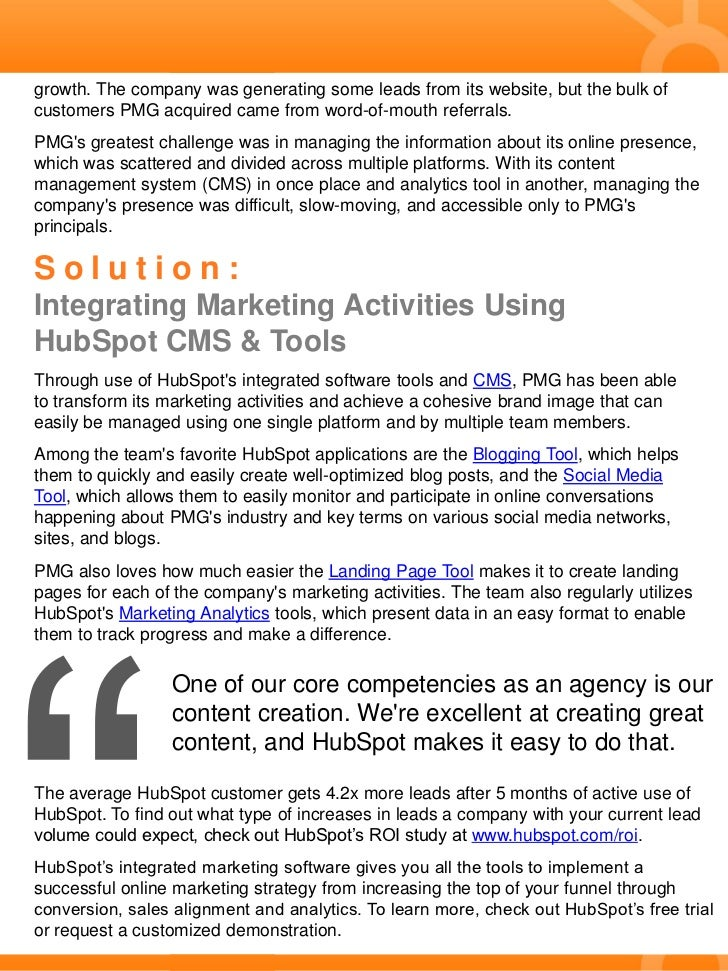 Case Study: PMG Transforms Marketing Activities & Generates More Qualified Leads Slide 2