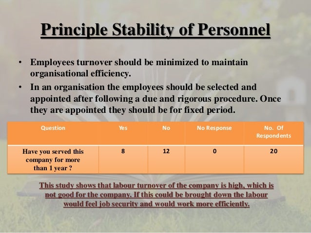 stability of tenure of personnel in mcdonalds