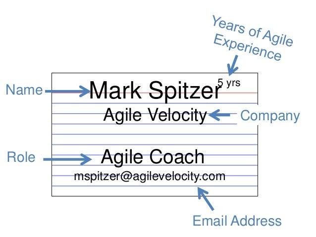 Mark Spitzer  Agile Velocity  Role  5 yrs  Name  Company  Agile Coach  mspitzer@agilevelocity.com  Email Address