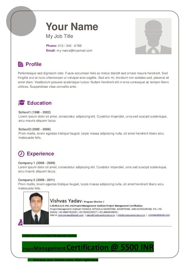 Your Name My Job Title Phone: 012 / 345 - 6789 Email: my-name@myemail.com Profile Pellentesque sed dignissim odio. Fusce a...
