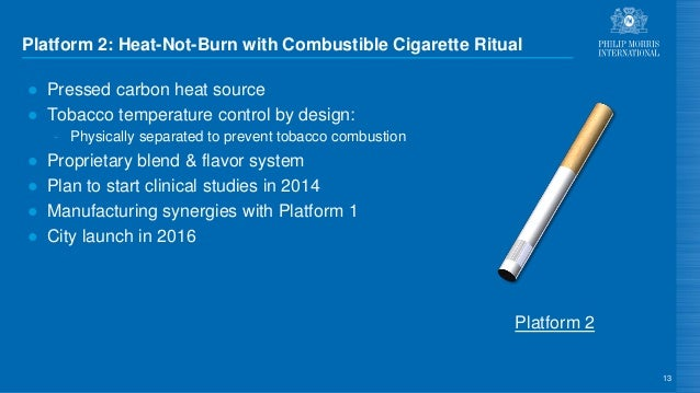 Platform 2: Heat-Not-Burn with Combustible Cigarette Ritual ● Pressed carbon heat source ● Tobacco temperature control by ...